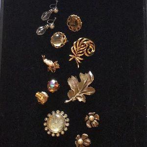 7 Piece Vintage Brooch/Earring Set